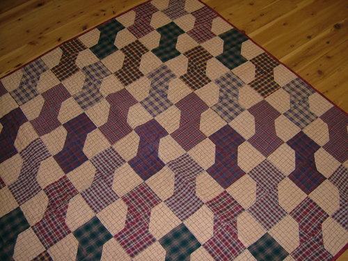 Bow Tie Quilt - made using a range of checks and plaids